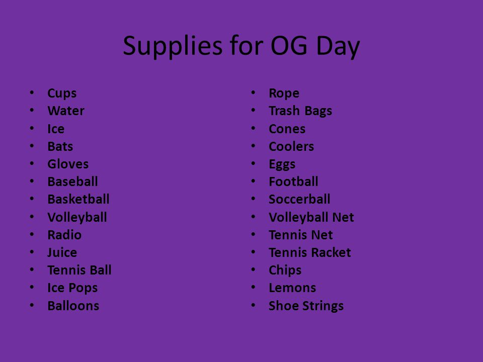 Supplies for OG Day Cups Water Ice Bats Gloves Baseball Basketball Volleyball Radio Juice Tennis Ball Ice Pops Balloons Rope Trash Bags Cones Coolers Eggs Football Soccerball Volleyball Net Tennis Net Tennis Racket Chips Lemons Shoe Strings