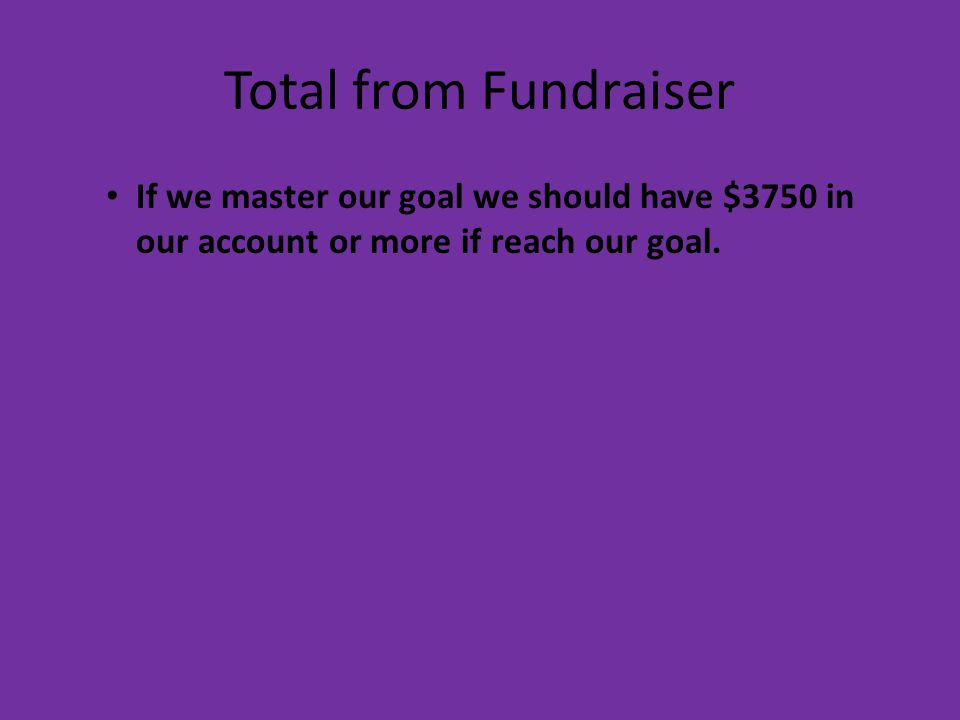 Total from Fundraiser If we master our goal we should have $3750 in our account or more if reach our goal.