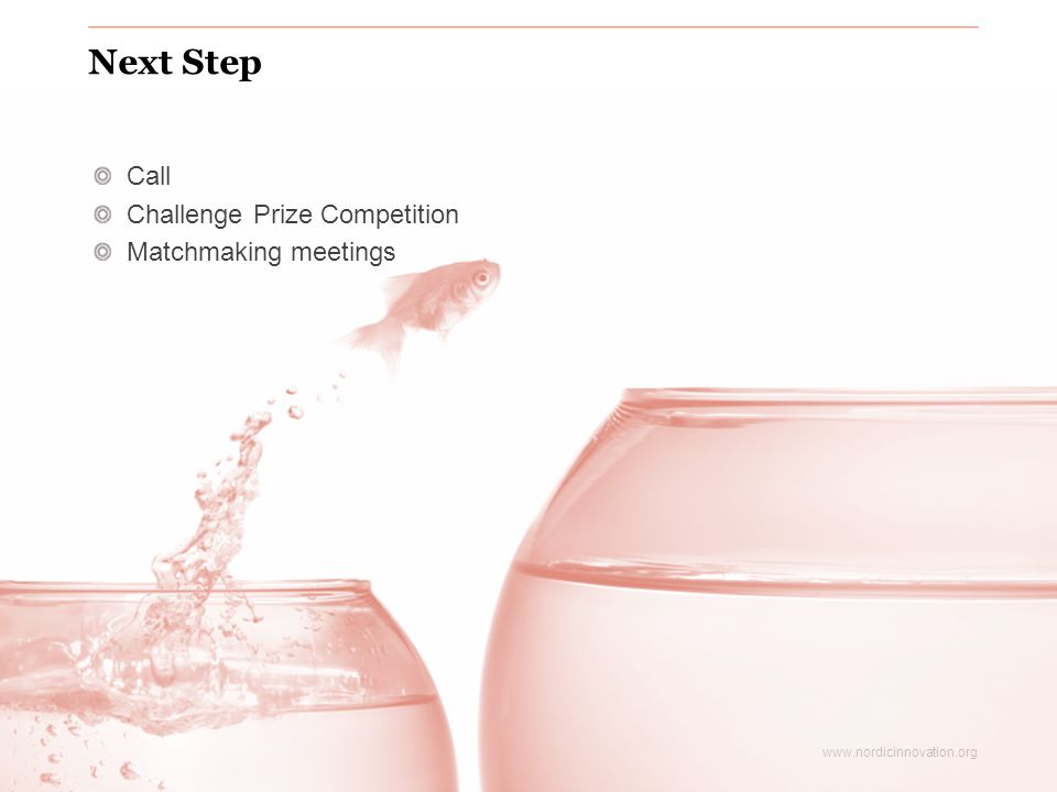 www.nordicinnovation.org Next Step Call Challenge Prize Competition Matchmaking meetings