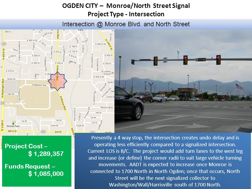 OGDEN CITY – Monroe/North Street Signal Project Type - Intersection Intersection @ Monroe Blvd.