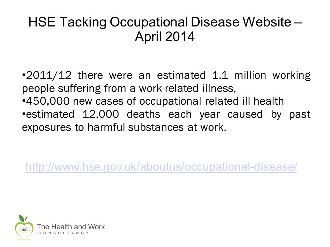 HSE Tacking Occupational Disease Website – April 2014 http://www.hse.gov.uk/aboutus/occupational-disease/ 2011/12 there were an estimated 1.1 million working people suffering from a work-related illness, 450,000 new cases of occupational related ill health estimated 12,000 deaths each year caused by past exposures to harmful substances at work.