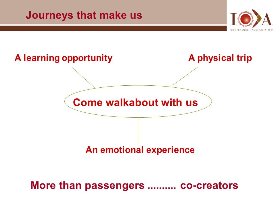 A physical trip An emotional experience Come walkabout with us More than passengers..........