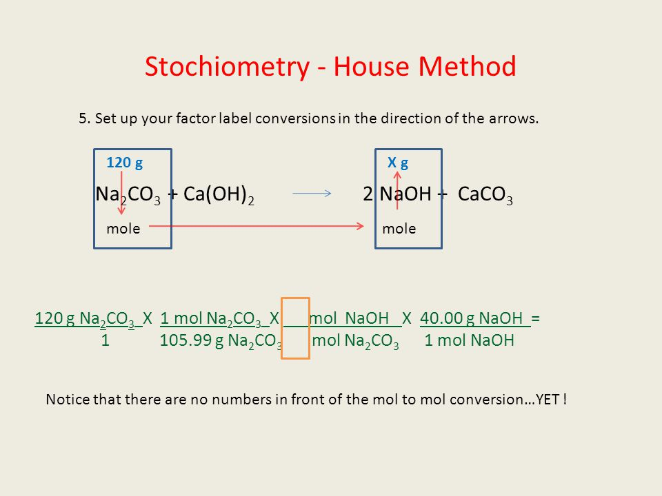 Stochiometry - House Method 5. Set up your factor label conversions in the direction of the arrows. Na 2 CO 3 + Ca(OH) 2 2 NaOH + CaCO 3 120 gX g mole