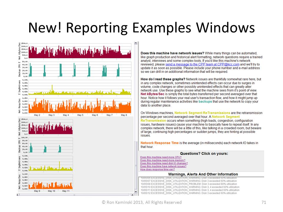 New! Reporting Examples Windows © Ron Kaminski 2013, All Rights Reserved71