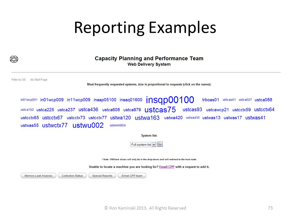 Reporting Examples © Ron Kaminski 2013, All Rights Reserved73