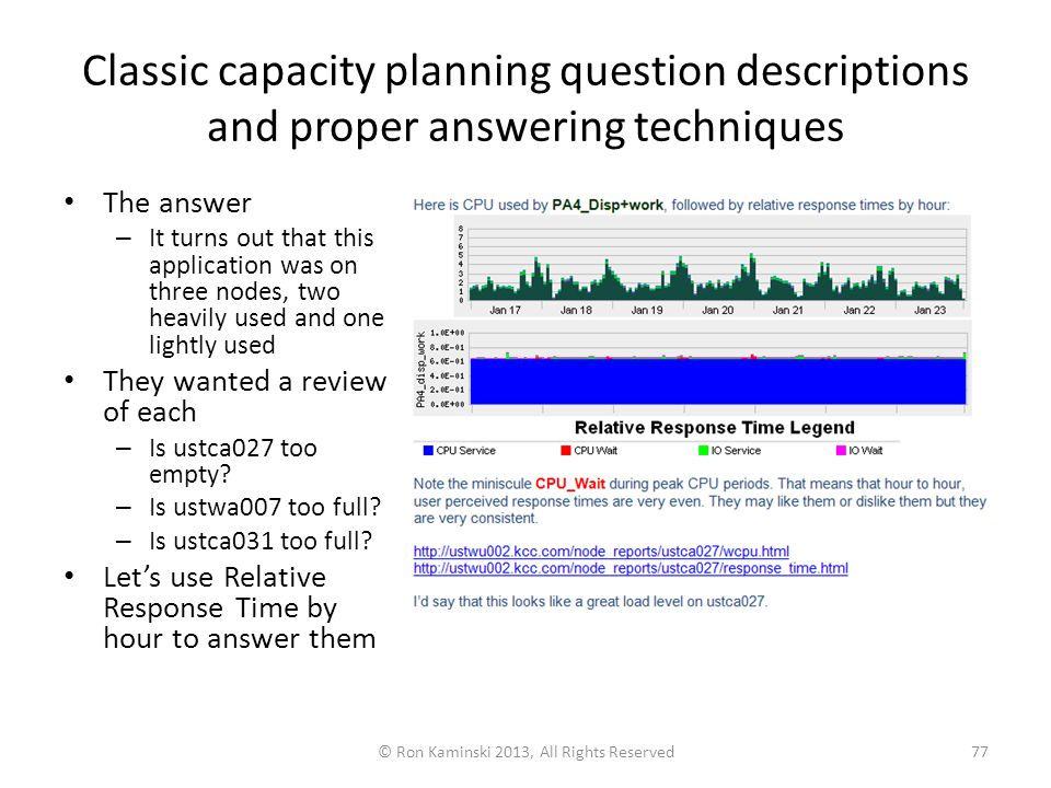 Classic capacity planning question descriptions and proper answering techniques The answer – It turns out that this application was on three nodes, two heavily used and one lightly used They wanted a review of each – Is ustca027 too empty.
