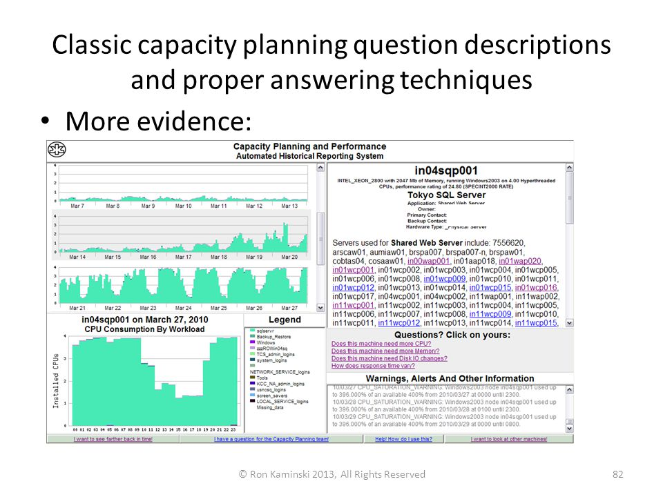 Classic capacity planning question descriptions and proper answering techniques More evidence: © Ron Kaminski 2013, All Rights Reserved82