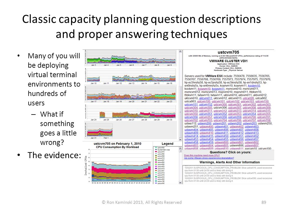 Classic capacity planning question descriptions and proper answering techniques Many of you will be deploying virtual terminal environments to hundreds of users – What if something goes a little wrong.