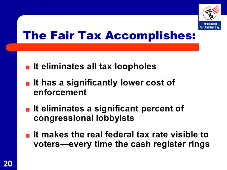21 Flat Tax vs.Fair Tax Fair TaxFlat Tax Is still an income taxNoYes Eliminates $250 mil.