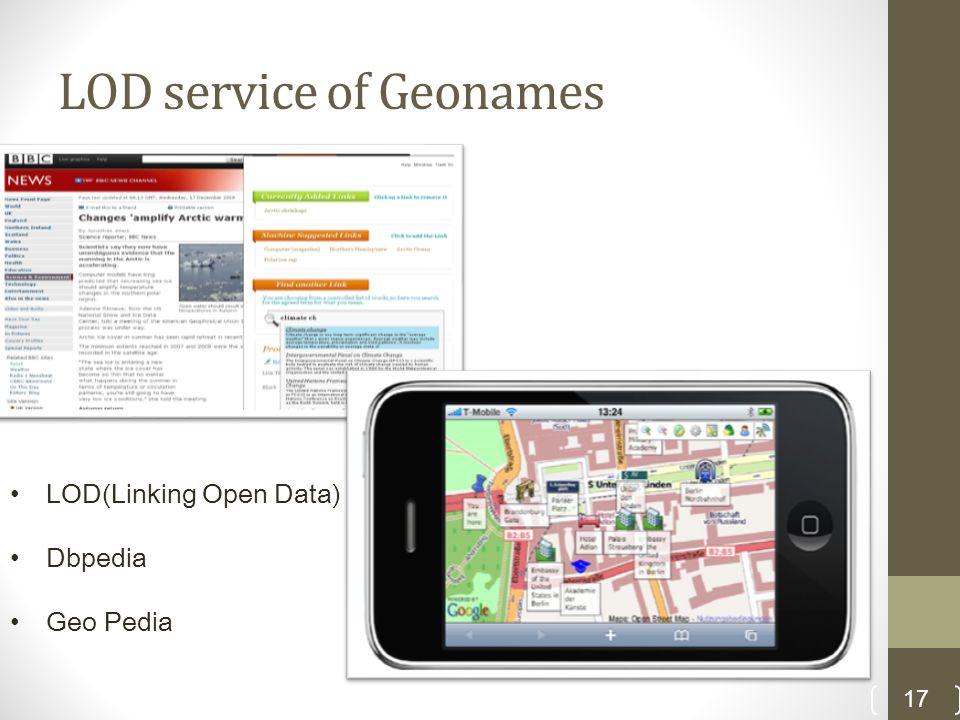 LOD service of Geonames 17 LOD(Linking Open Data) Dbpedia Geo Pedia