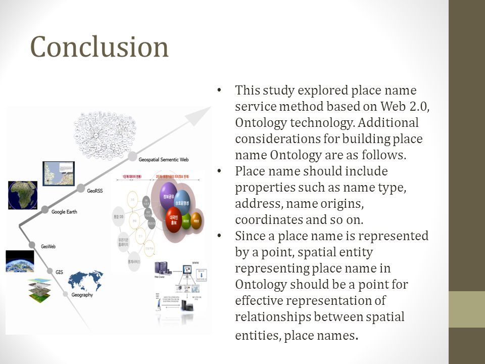 Conclusion This study explored place name service method based on Web 2.0, Ontology technology. Additional considerations for building place name Onto