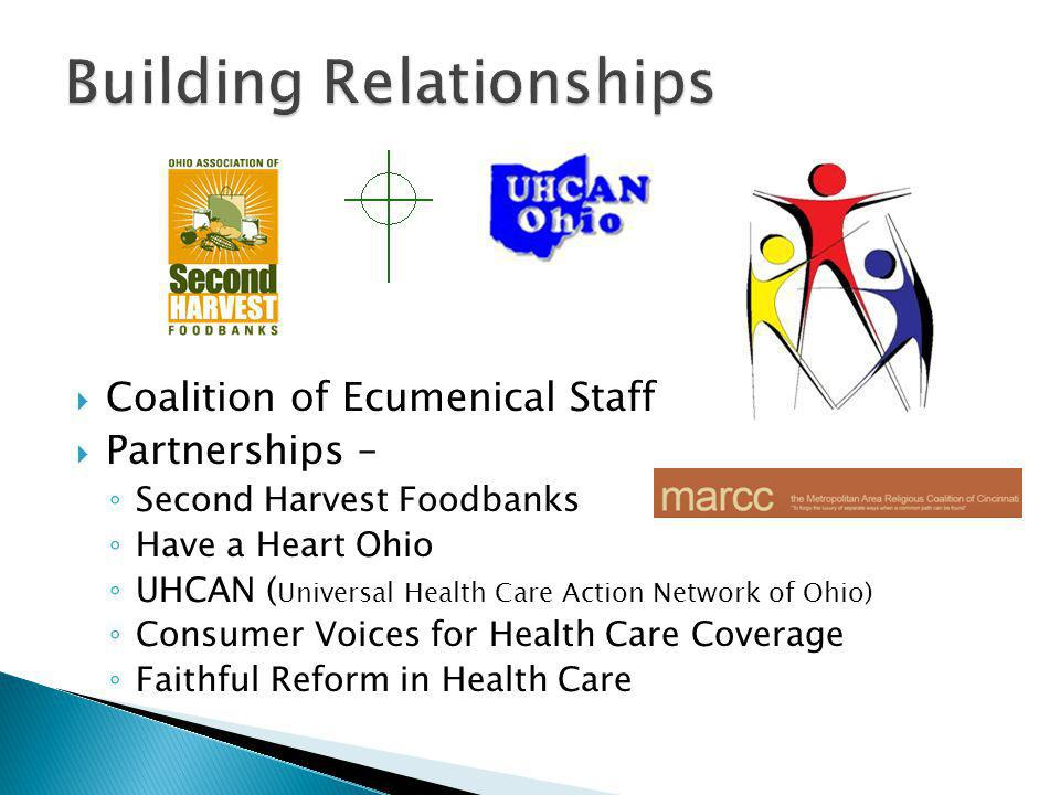  Coalition of Ecumenical Staff  Partnerships – ◦ Second Harvest Foodbanks ◦ Have a Heart Ohio ◦ UHCAN ( Universal Health Care Action Network of Ohio) ◦ Consumer Voices for Health Care Coverage ◦ Faithful Reform in Health Care