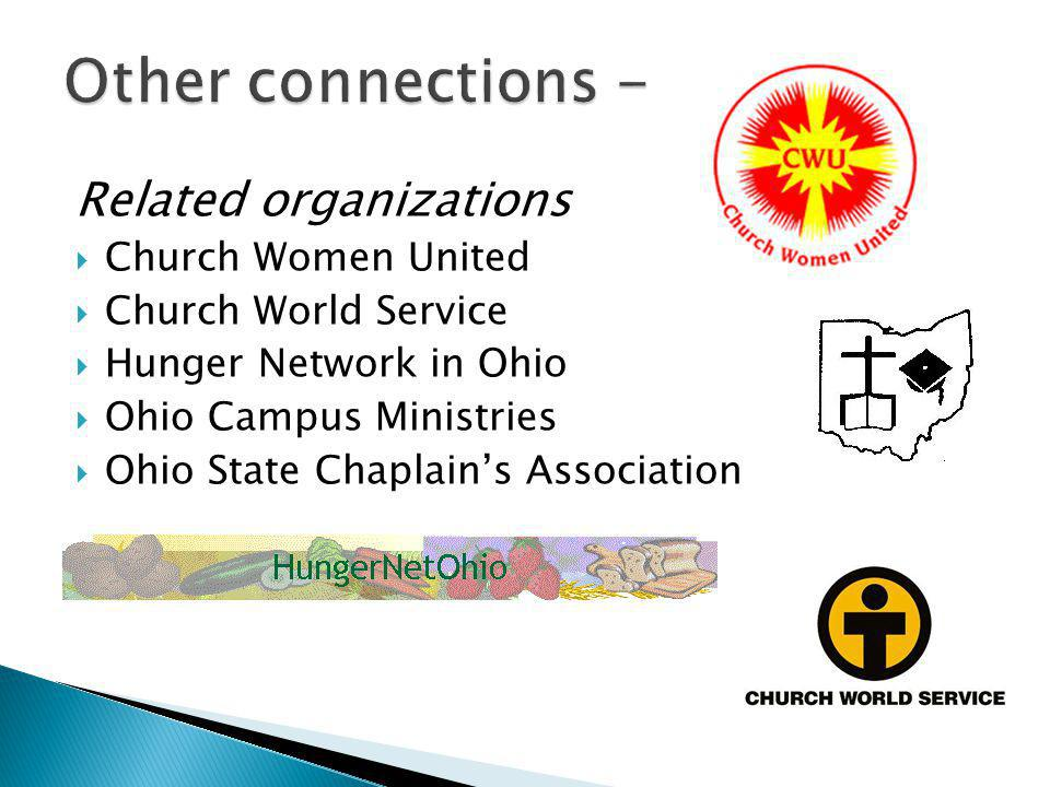 Related organizations  Church Women United  Church World Service  Hunger Network in Ohio  Ohio Campus Ministries  Ohio State Chaplain's Association