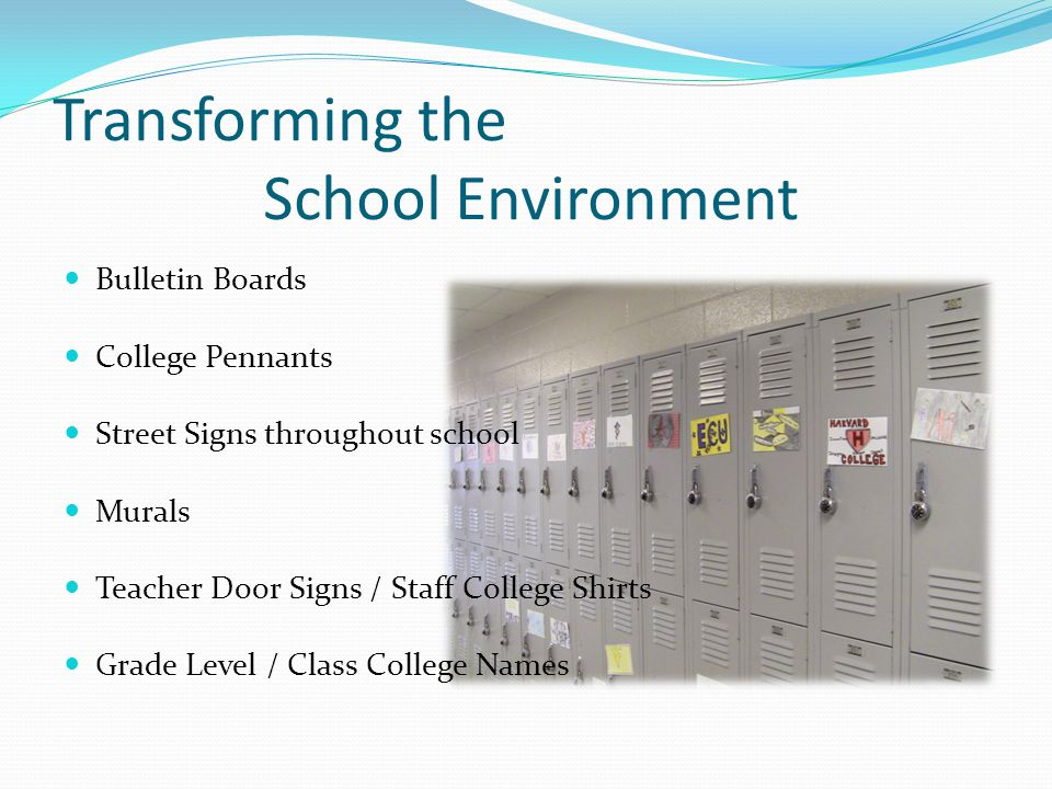 Transforming Students Binder Incentive Program Locker Magnet Focus Expectations of higher rigorous curriculum College theme has been infused in ALL cl