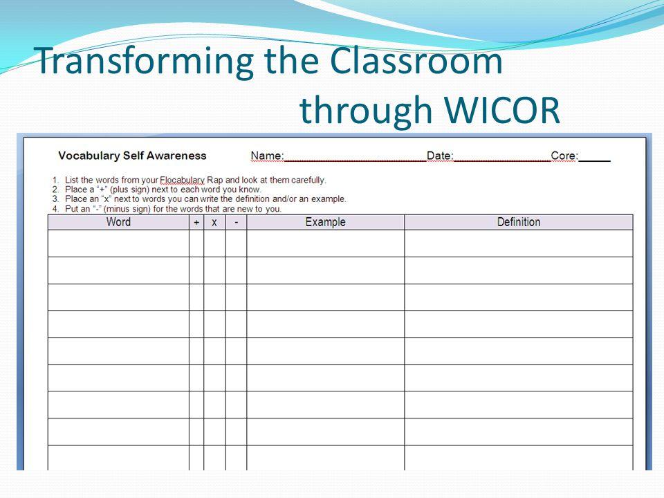 Transforming the Classroom through WICOR