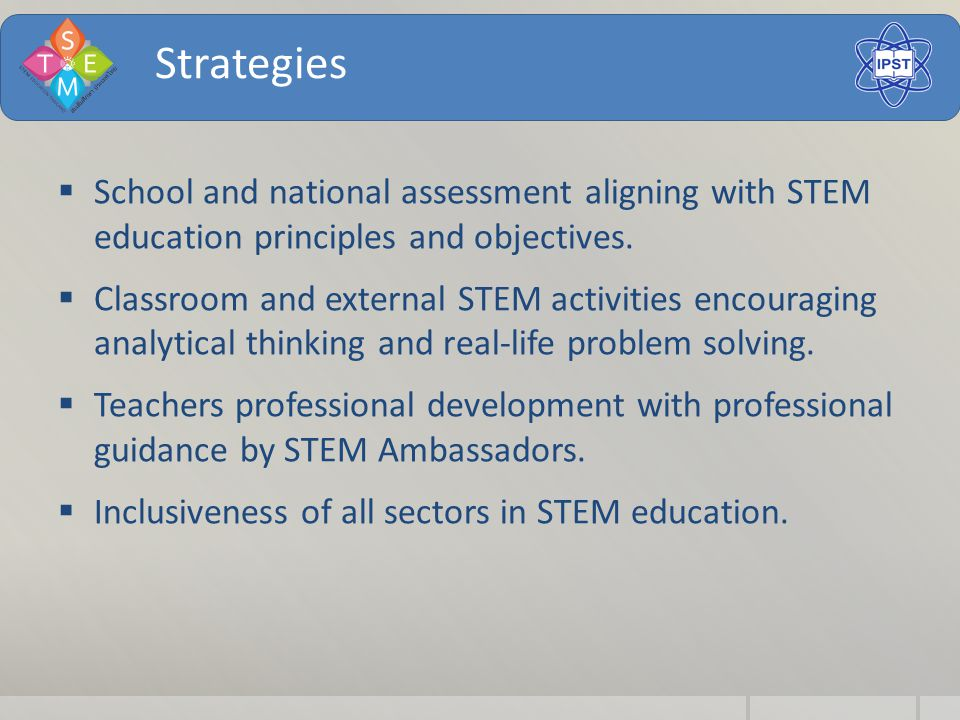 Strategies  School and national assessment aligning with STEM education principles and objectives.