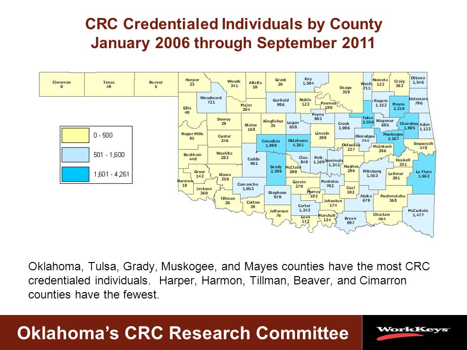Oklahoma's CRC Research Committee Oklahoma, Tulsa, Grady, Muskogee, and Mayes counties have the most CRC credentialed individuals.