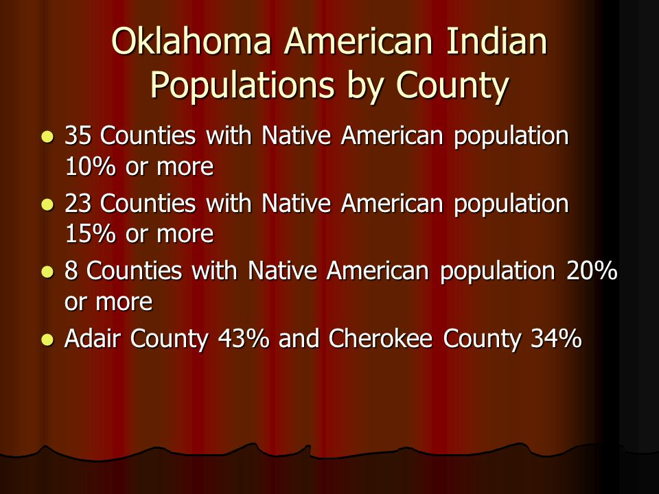 Oklahoma American Indian Populations by County 35 Counties with Native American population 10% or more 35 Counties with Native American population 10%