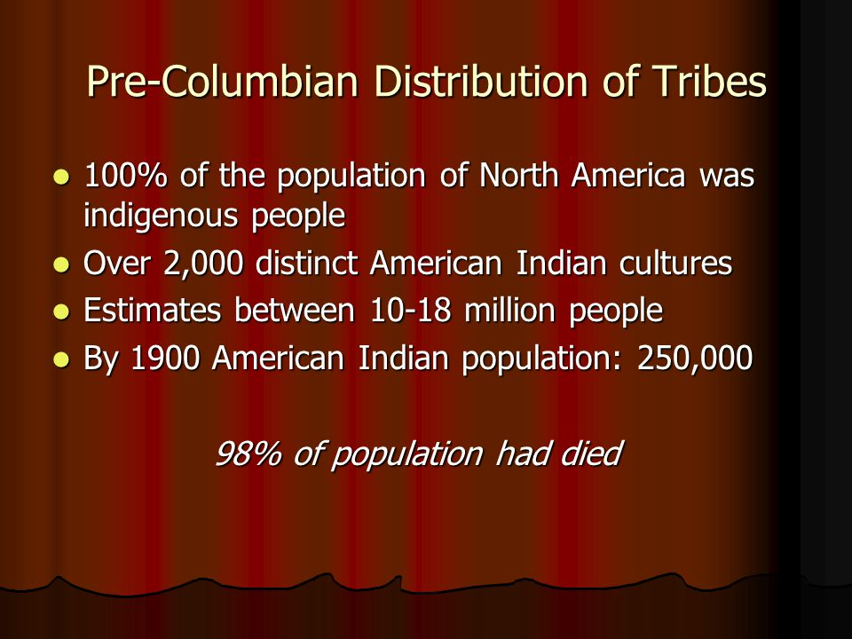 Pre-Columbian Distribution of Tribes 100% of the population of North America was indigenous people 100% of the population of North America was indigen