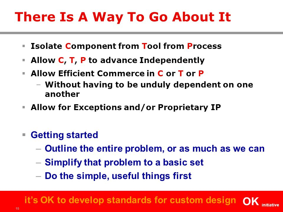 15 OK initiative it's OK to develop standards for custom design There Is A Way To Go About It  Isolate Component from Tool from Process  Allow C, T, P to advance Independently  Allow Efficient Commerce in C or T or P –Without having to be unduly dependent on one another  Allow for Exceptions and/or Proprietary IP  Getting started –Outline the entire problem, or as much as we can –Simplify that problem to a basic set –Do the simple, useful things first