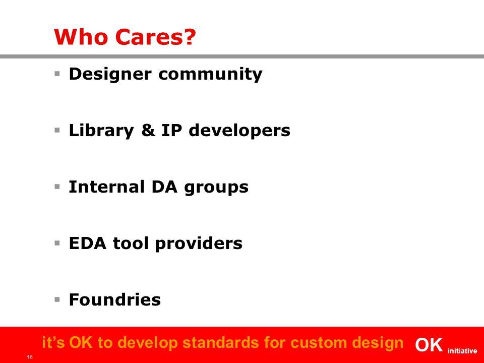 16 OK initiative it's OK to develop standards for custom design Who Cares?  Designer community  Library & IP developers  Internal DA groups  EDA t
