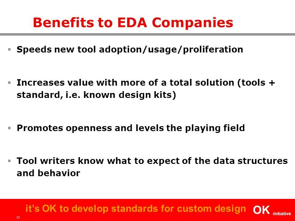 20 OK initiative it's OK to develop standards for custom design Benefits to EDA Companies  Speeds new tool adoption/usage/proliferation  Increases v