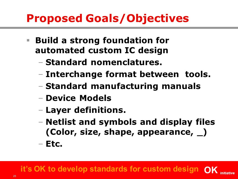 28 OK initiative it's OK to develop standards for custom design Proposed Goals/Objectives  Build a strong foundation for automated custom IC design –