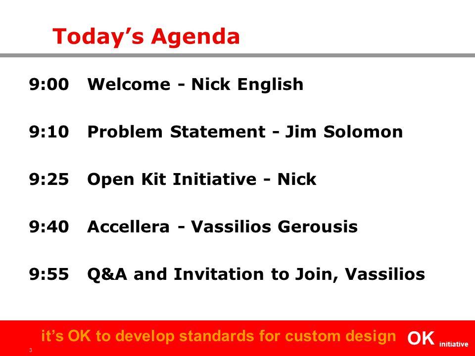 3 OK initiative it's OK to develop standards for custom design Today's Agenda 9:00 Welcome - Nick English 9:10 Problem Statement - Jim Solomon 9:25 Op