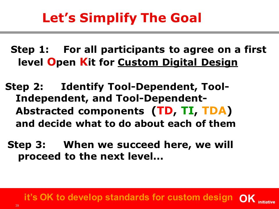 39 OK initiative it's OK to develop standards for custom design Let's Simplify The Goal Step 1:For all participants to agree on a first level O pen K it for Custom Digital Design Step 2: Identify Tool-Dependent, Tool- Independent, and Tool-Dependent- Abstracted components (TD, TI, TDA) and decide what to do about each of them Step 3: When we succeed here, we will proceed to the next level...