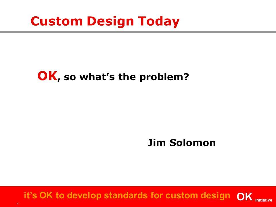 4 OK initiative it's OK to develop standards for custom design Custom Design Today OK, so what's the problem? Jim Solomon