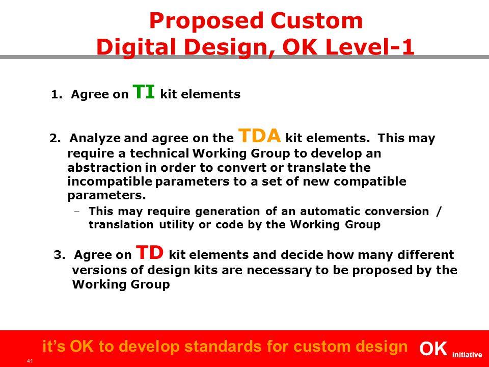 41 OK initiative it's OK to develop standards for custom design 1. Agree on TI kit elements 2. Analyze and agree on the TDA kit elements. This may req