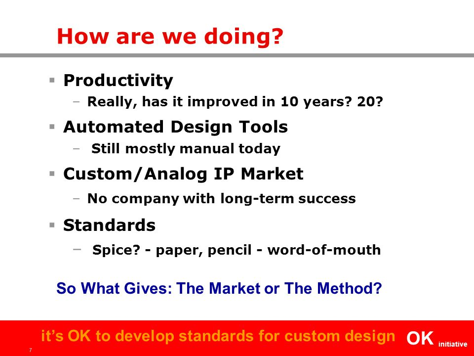 7 OK initiative it's OK to develop standards for custom design How are we doing.