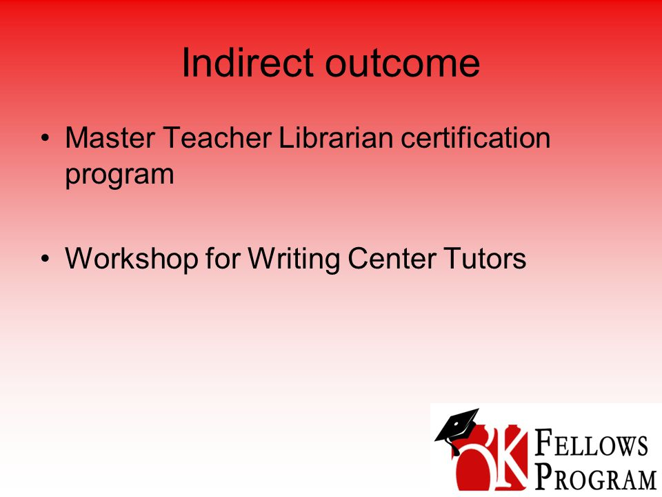 Indirect outcome Master Teacher Librarian certification program Workshop for Writing Center Tutors