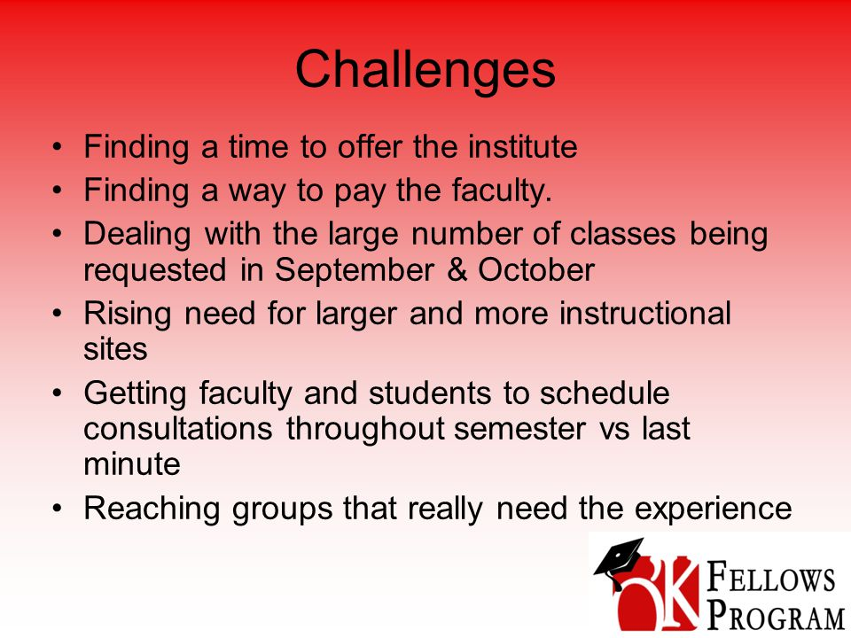 Challenges Finding a time to offer the institute Finding a way to pay the faculty.