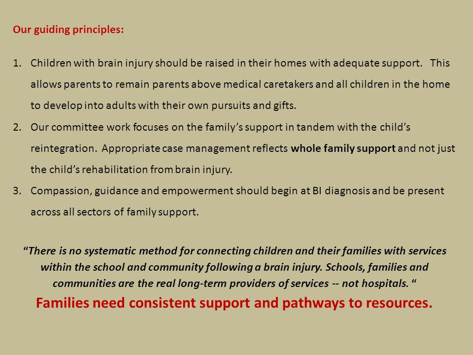 Our guiding principles: 1.Children with brain injury should be raised in their homes with adequate support.