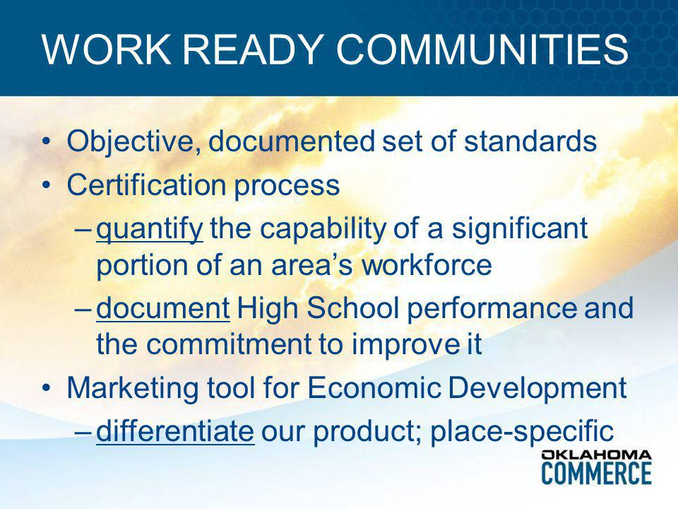 WORK READY COMMUNITIES Objective, documented set of standards Certification process –quantify the capability of a significant portion of an area's wor