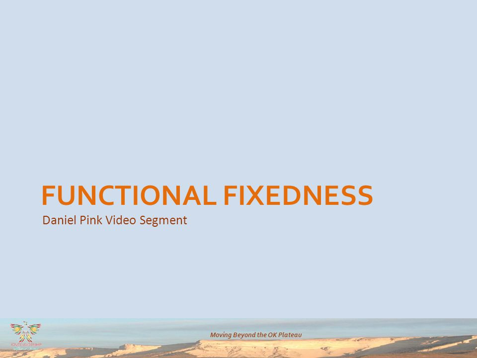 Moving Beyond the OK Plateau Daniel Pink Video Segment FUNCTIONAL FIXEDNESS