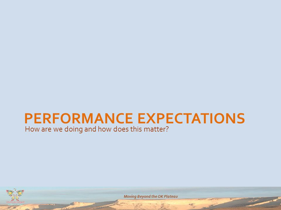 Moving Beyond the OK Plateau PERFORMANCE EXPECTATIONS How are we doing and how does this matter