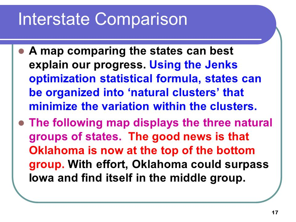 17 Interstate Comparison A map comparing the states can best explain our progress. Using the Jenks optimization statistical formula, states can be org