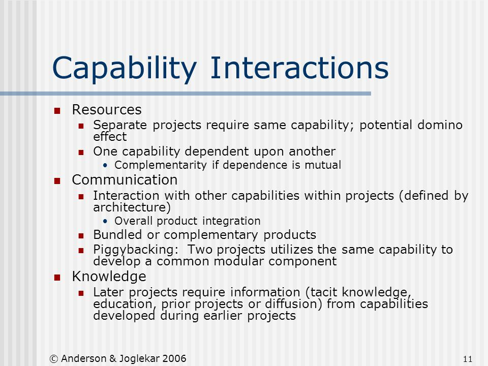 11 © Anderson & Joglekar 2006 Capability Interactions Resources Separate projects require same capability; potential domino effect One capability depe