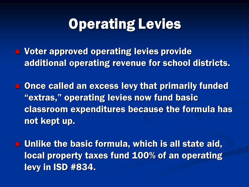 Operating Levies Voter approved operating levies provide additional operating revenue for school districts.