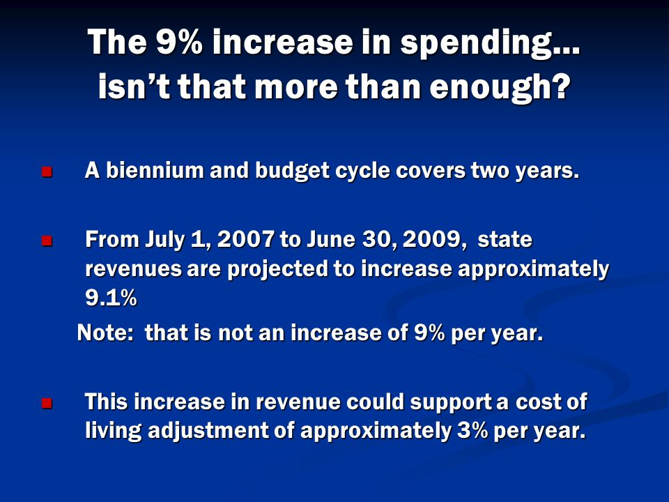 The 9% increase in spending… isn't that more than enough.