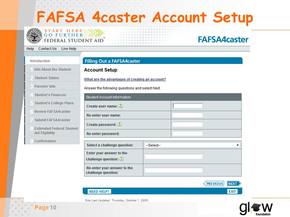 Page 10 FAFSA 4caster Account Setup