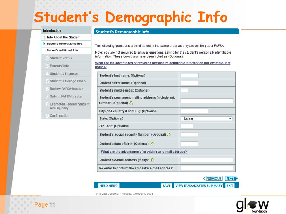 Page 11 Student's Demographic Info