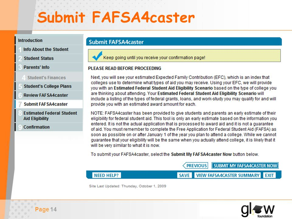 Page 14 Submit FAFSA4caster