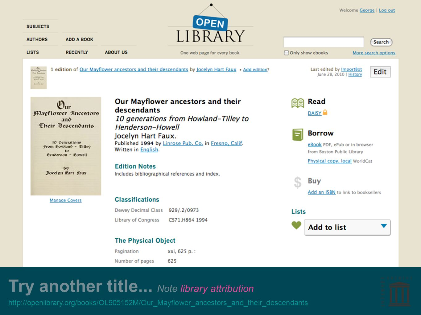 Try another title... Note library attribution http://openlibrary.org/books/OL905152M/Our_Mayflower_ancestors_and_their_descendants