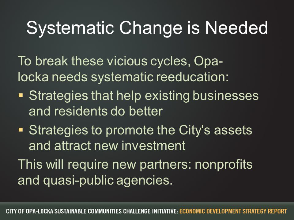 Systematic Change is Needed To break these vicious cycles, Opa- locka needs systematic reeducation:  Strategies that help existing businesses and res
