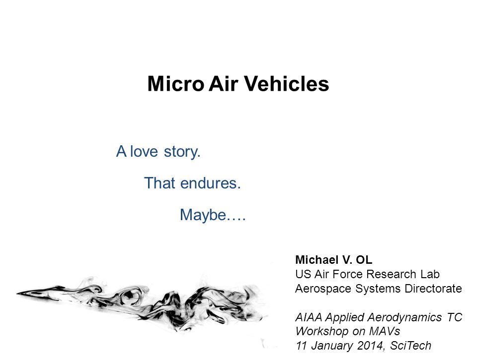 Micro Air Vehicles A love story. That endures. Maybe….