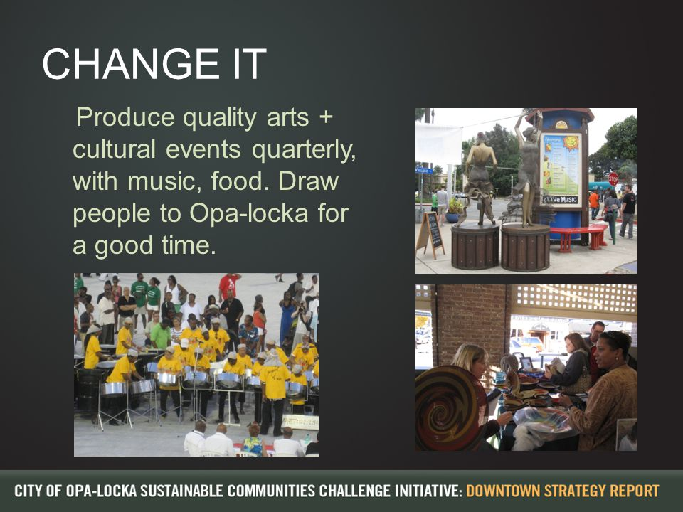 CHANGE IT Produce quality arts + cultural events quarterly, with music, food.