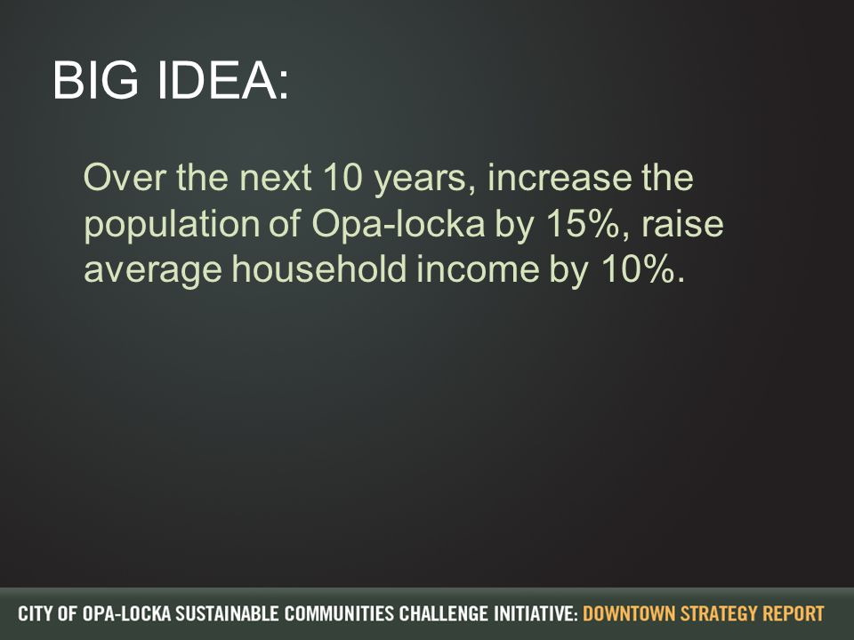 BIG IDEA: Over the next 10 years, increase the population of Opa-locka by 15%, raise average household income by 10%.